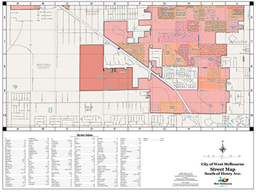 West Melbourne  Street Map South of Henry - Color Map (PDF)